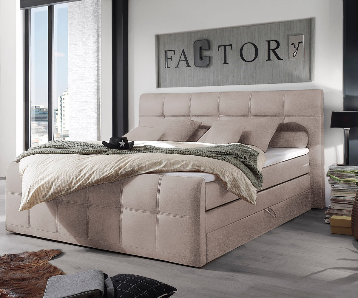 bett sebastiano beige 180x200 flachgewebe topper federkern bettkasten boxspringbett. Black Bedroom Furniture Sets. Home Design Ideas