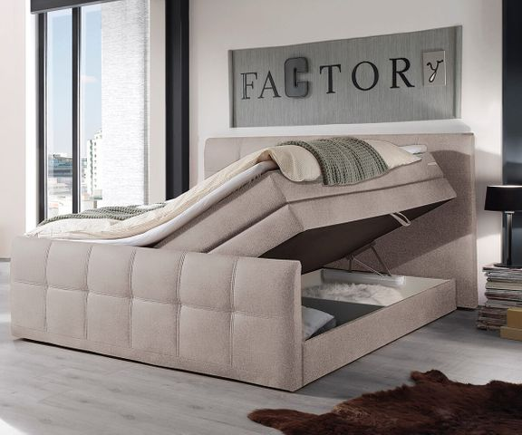 Boxspring-bed Sebastiano 180x200 beige vlak geweven Topper 2