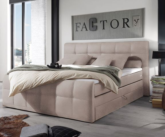 Boxspring-bed Sebastiano 180x200 beige vlak geweven Topper 1