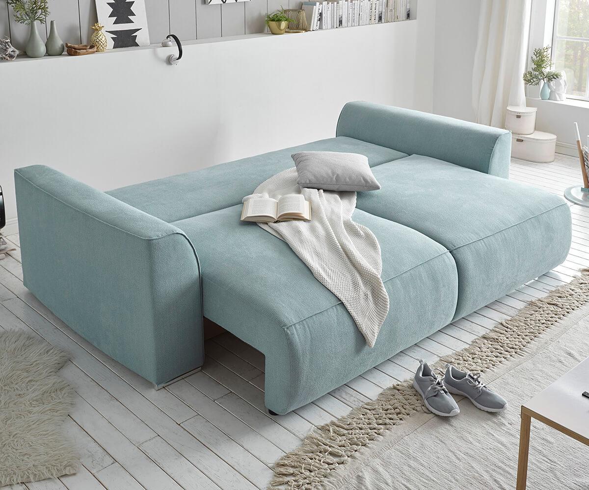 Bigsofa lauretta hellblau 250x130 schlaffunktion for Sofa hellblau