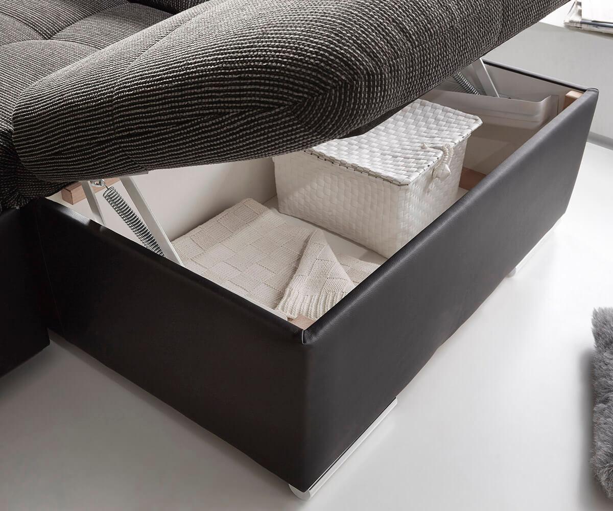 Couch Jerrica Grau Schwarz 325x220 Cm Bettkasten Schlaffunktion