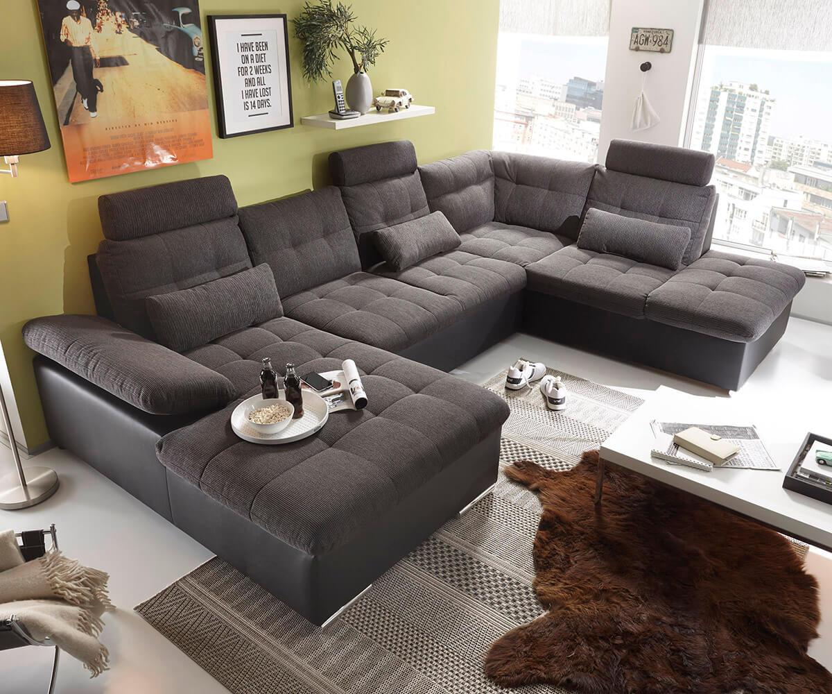 wohnlandschaft jerrica 325x220 grau schwarz schlaffunktion m bel sofas wohnlandschaften. Black Bedroom Furniture Sets. Home Design Ideas