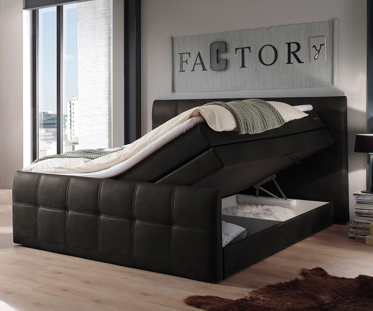 bett amarillo anthrazit 180x200 matratze mit topper und. Black Bedroom Furniture Sets. Home Design Ideas