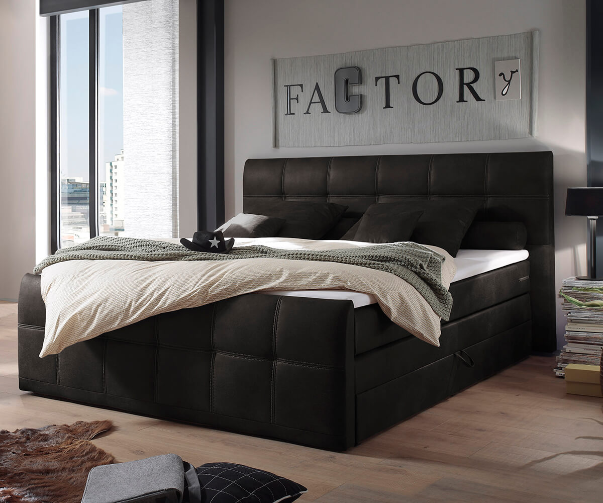 bett amarillo anthrazit 180x200 matratze mit topper und bettkasten boxspringbett. Black Bedroom Furniture Sets. Home Design Ideas