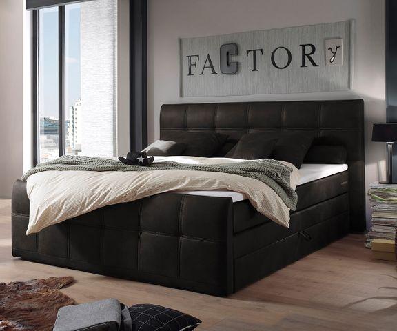 Boxspring-bed Amarillo 180x200 cm antraciet met Topper 1