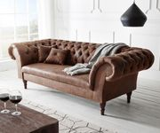 Couch Perida Braun 235x92 cm Antik Optik abgesteppt Chesterfield [11532]