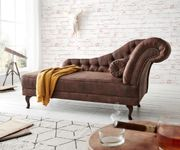 Chaiselongue Patsy Braun 185x75 cm Antik Optik Chesterfield mit Kissen Recamiere [11533]