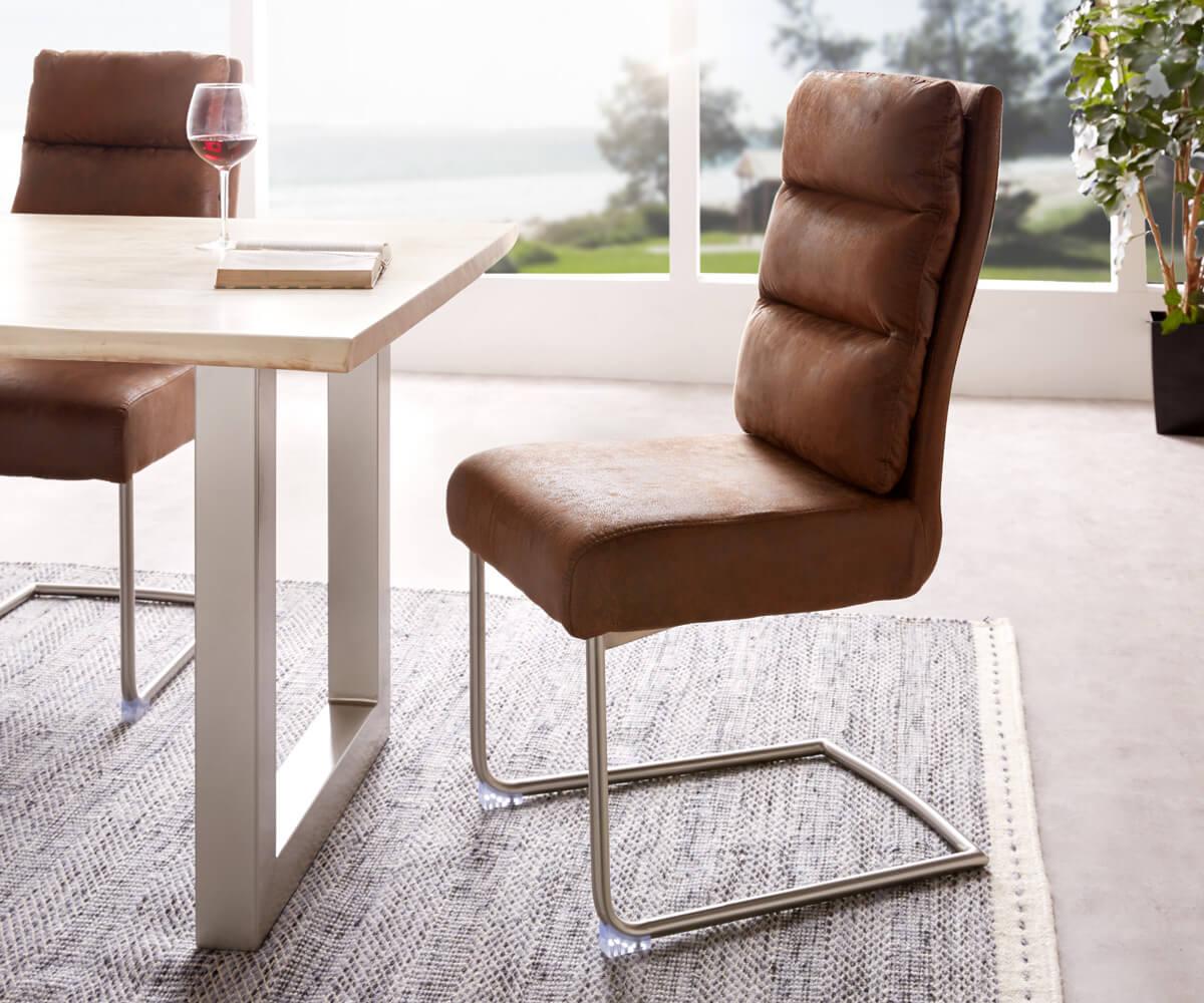 freischwinger pelagio braun vintage edelstahl federkern m bel st hle esszimmerst hle. Black Bedroom Furniture Sets. Home Design Ideas