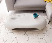 Wohnzimmertisch Rock Grau 135x65 cm Beton Optik mit Ablage Couchtisch [11551]