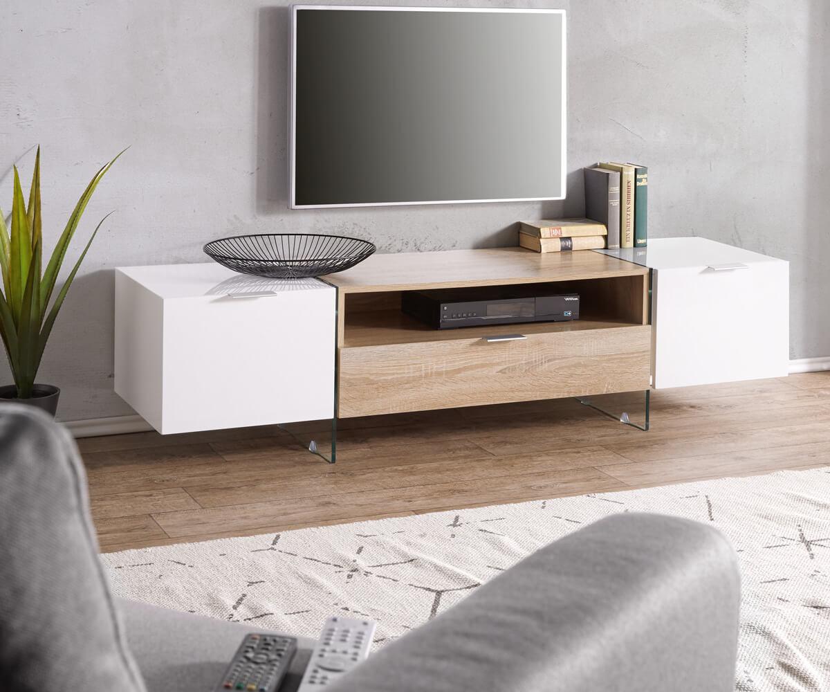 fernsehtisch henora weiss hochglanz 160 cm eiche sonoma dekor 2 t ren lowboard. Black Bedroom Furniture Sets. Home Design Ideas