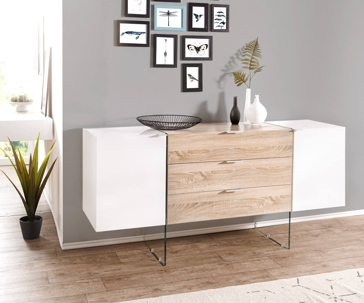 sideboard henora 160 cm weiss hochglanz eiche sonoma dekor m bel kommoden schr nke sideboards. Black Bedroom Furniture Sets. Home Design Ideas