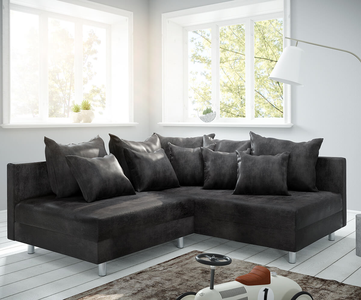 eckcouch clovis anthrazit antik optik ottomane rechts ecksofa modulsofa. Black Bedroom Furniture Sets. Home Design Ideas
