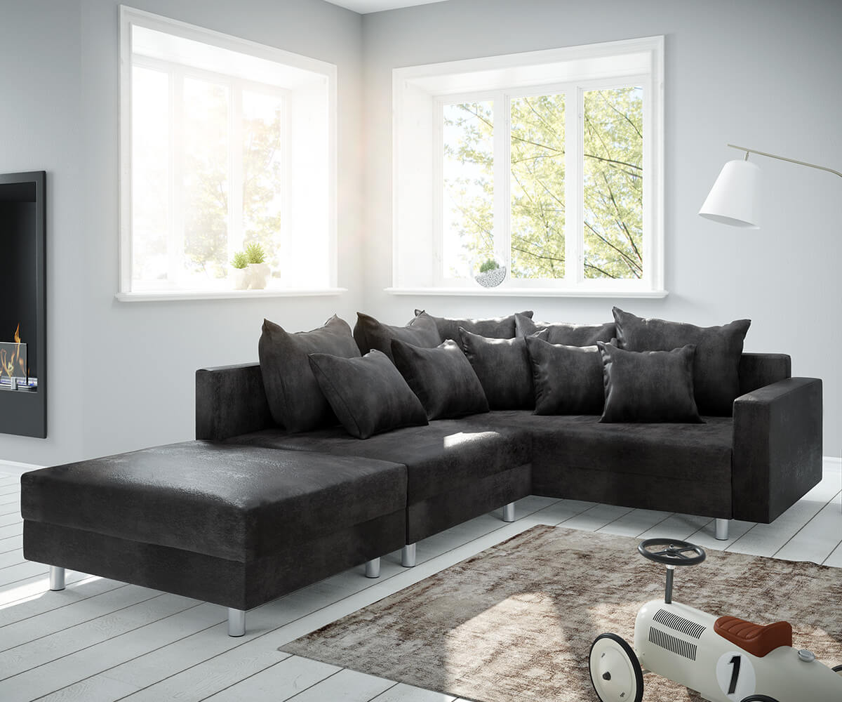 ecksofa clovis anthrazit antik optik modular hocker. Black Bedroom Furniture Sets. Home Design Ideas