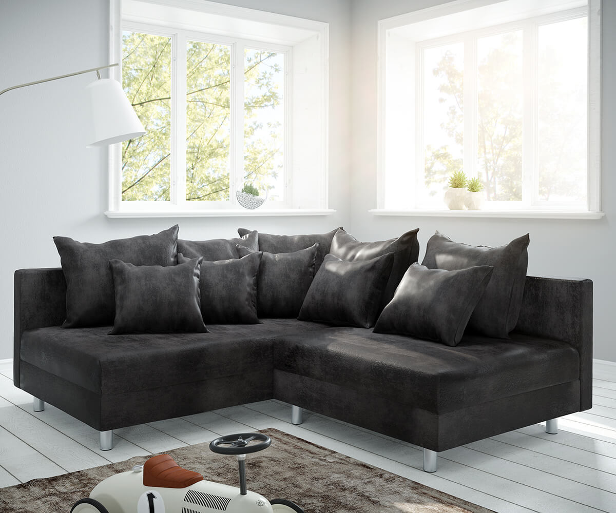 Ecksofa Clovis Anthrazit Antik Optik Ottomane Links Modulsofa