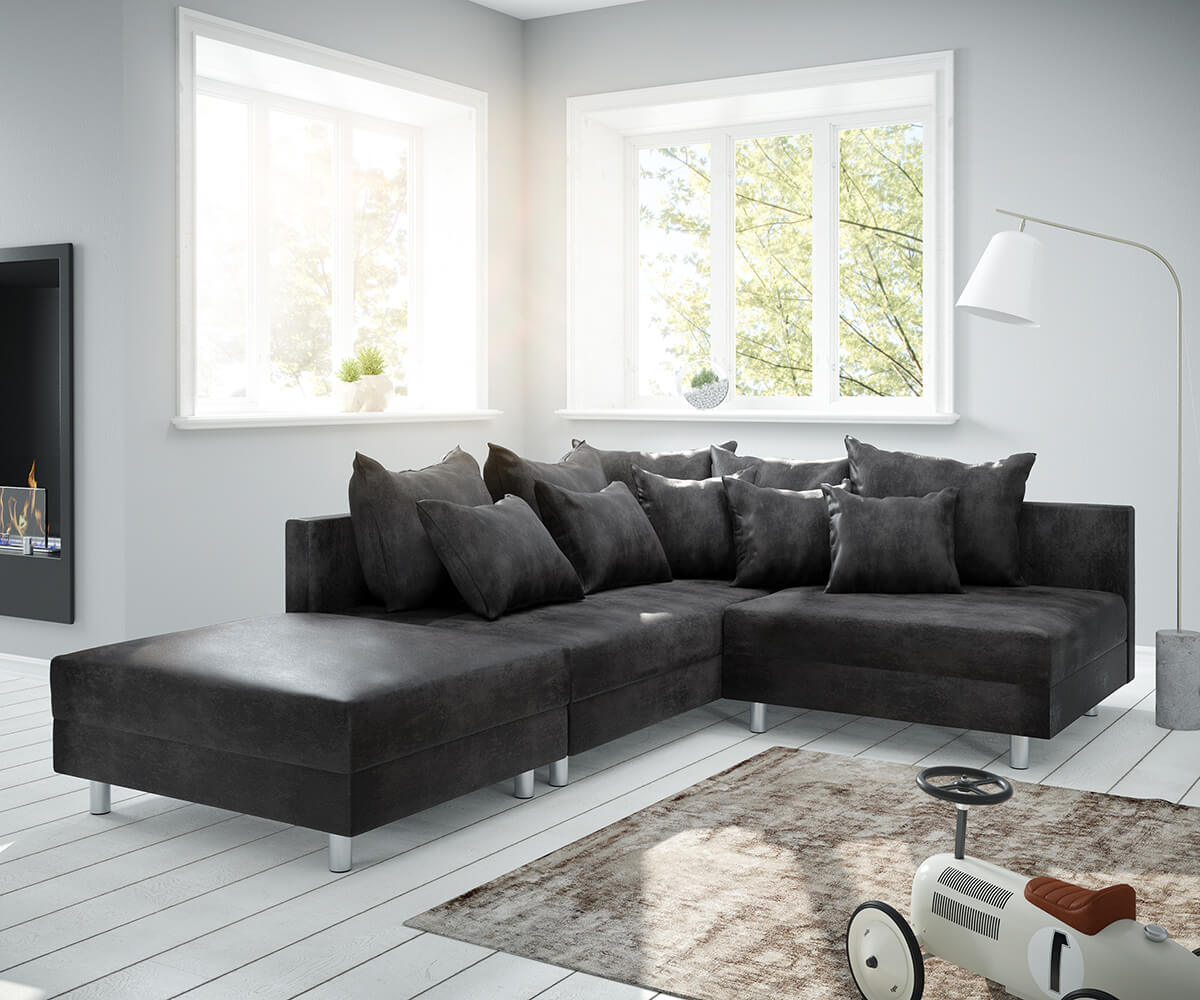 Ecksofa Clovis Anthrazit Antik Optik Hocker Ottomane Links Modulsofa
