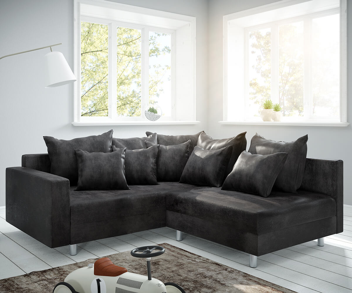 Ecksofa Clovis Anthrazit Antik Optik modular Armlehne Ottomane Links