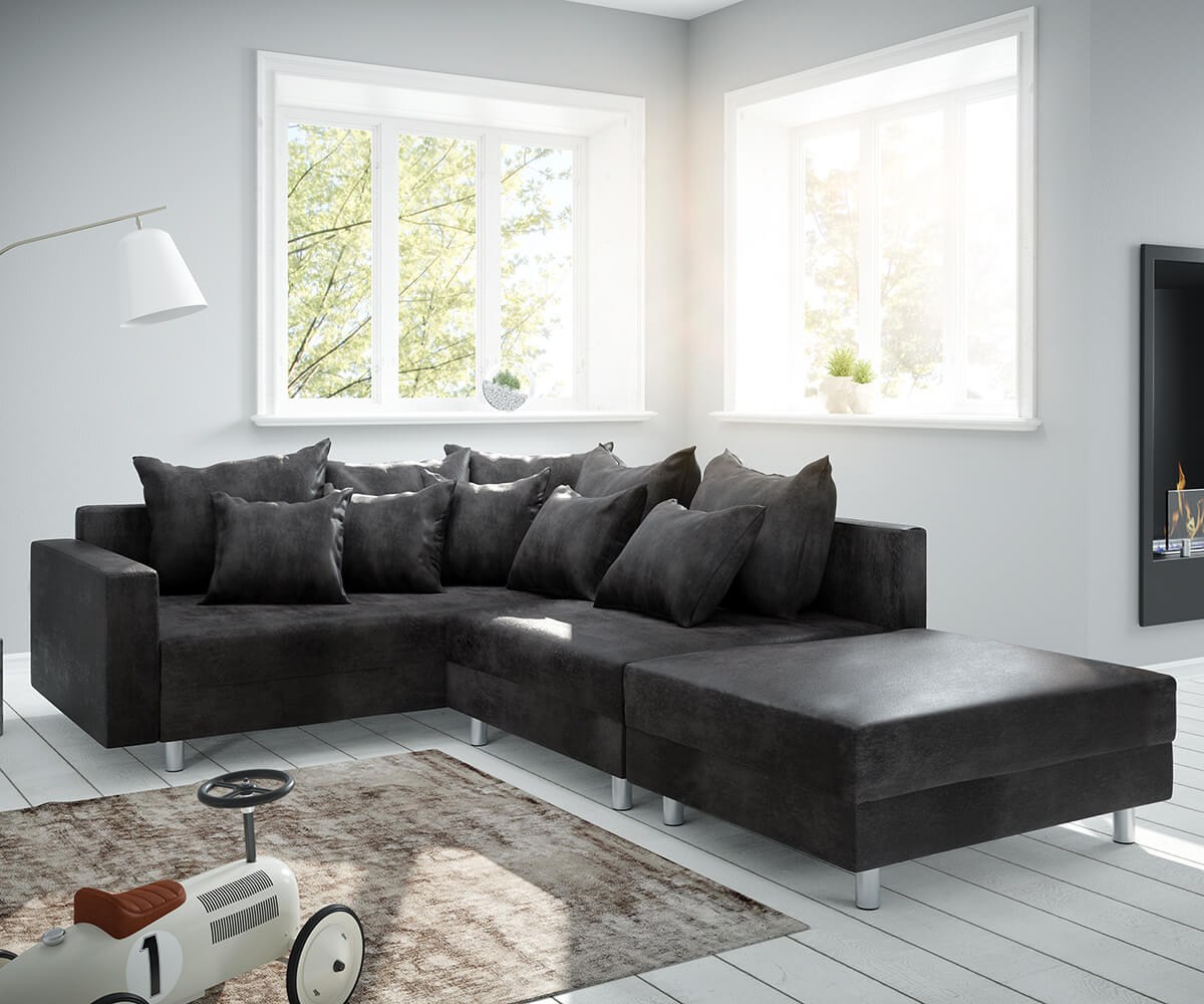 Ecksofa Clovis Anthrazit Antik Optik modul Hocker Armlehne Ottomane Links