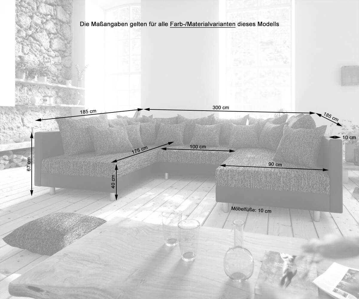 Couch Clovis Anthrazit Antik Optik Mit Hocker Wohnlandschaft Modulsofa