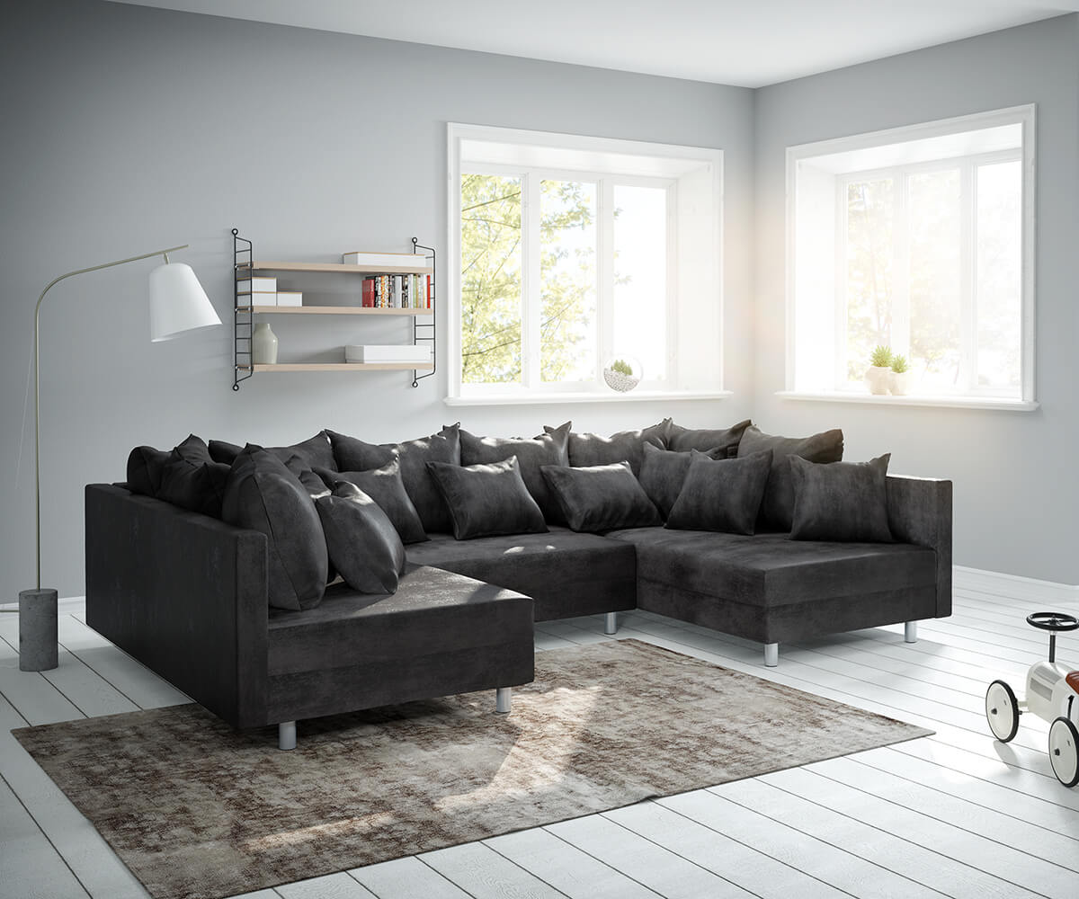 Couch Clovis Anthrazit Antik Optik Wohnlandschaft modulares Sofa