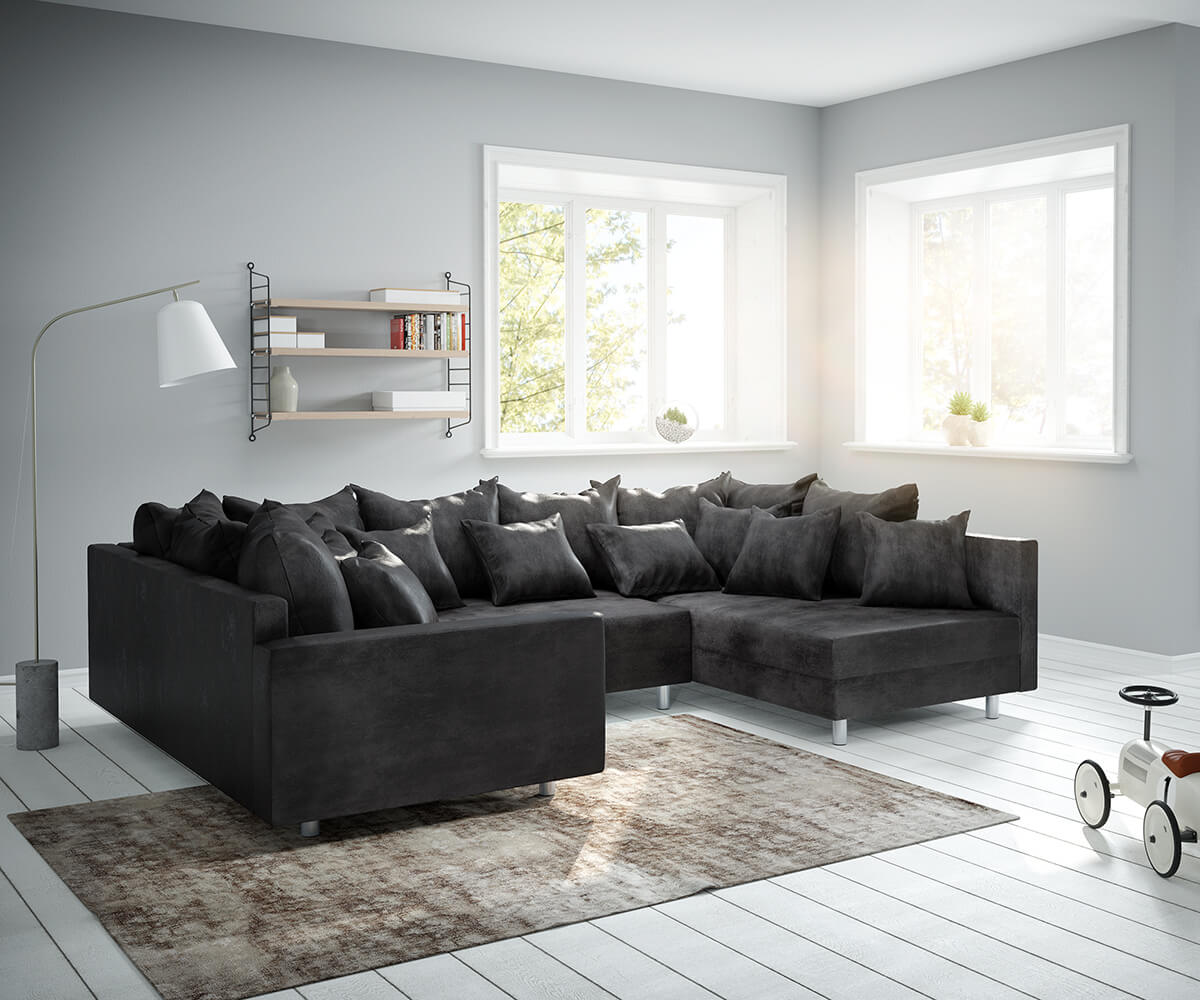 wohnlandschaft clovis anthrazit antik optik modular armlehne m bel sofas wohnlandschaften. Black Bedroom Furniture Sets. Home Design Ideas