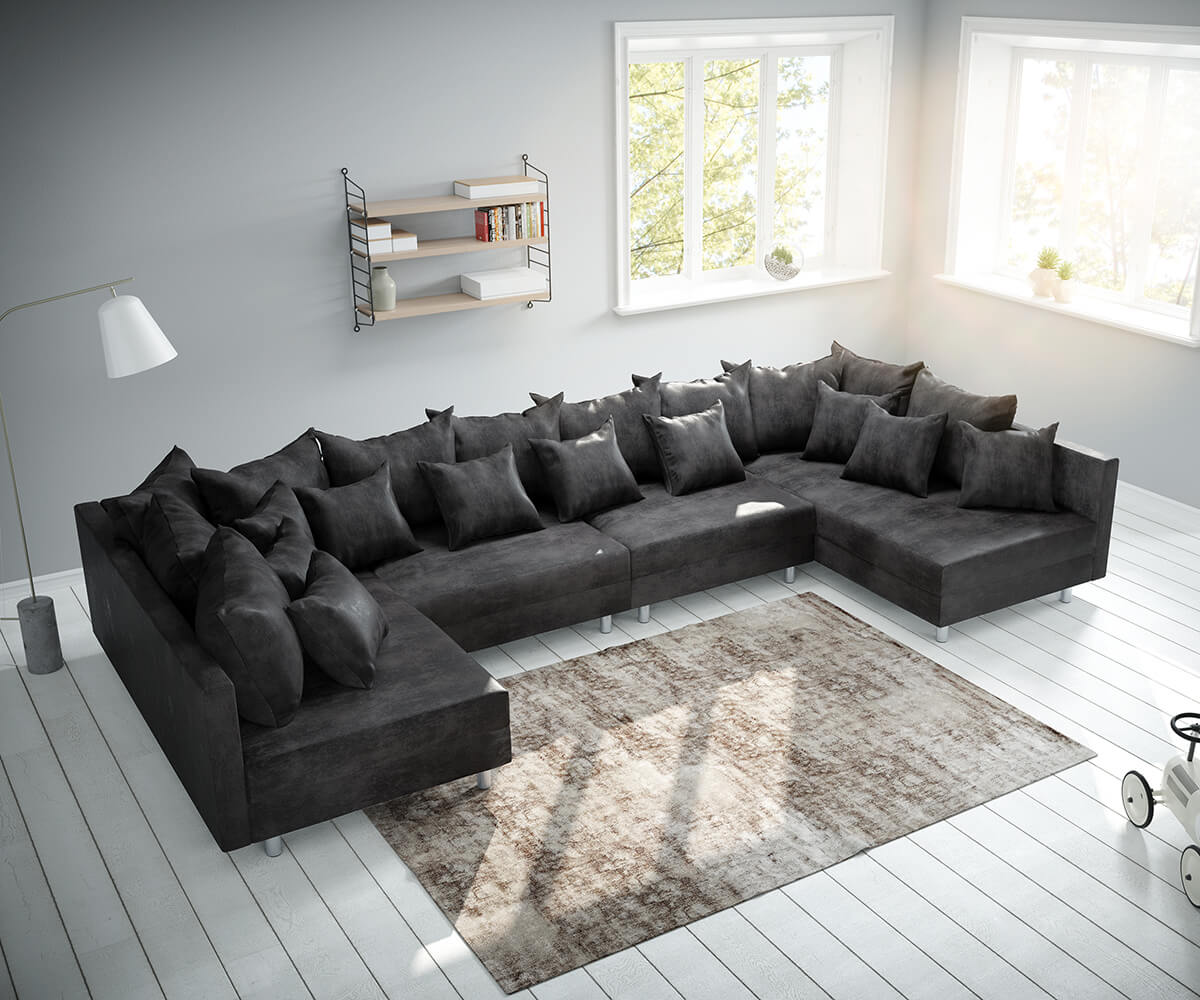 Wohnlandschaft Clovis XL Anthrazit Antik Optik Modulsofa
