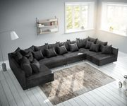 Couch Clovis XL Anthrazit Antik Optik Wohnlandschaft Modulsofa [11630]