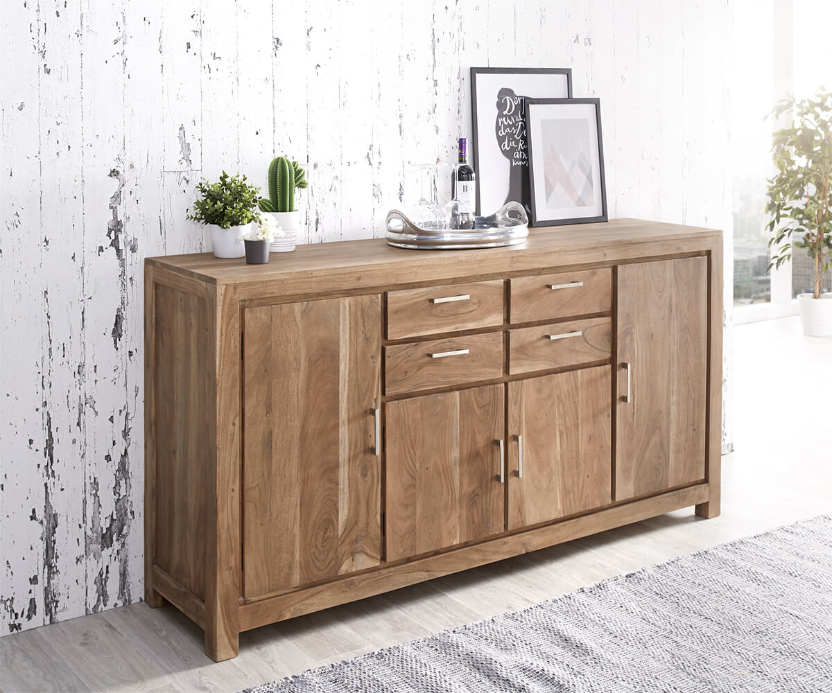 kommode creed akazie stone 180 cm 4 t ren 4 sch be massivholz sideboard. Black Bedroom Furniture Sets. Home Design Ideas