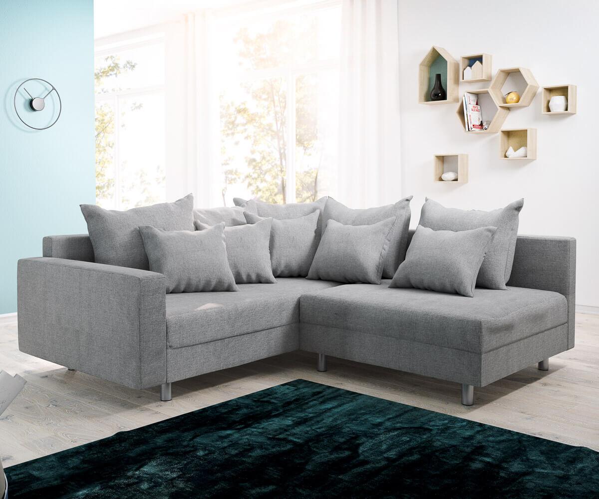 ecksofa clovis grau flachgewebe armlehne ottomane links modulsofa m bel sofas ecksofas. Black Bedroom Furniture Sets. Home Design Ideas
