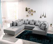 Couch Clovis Grau Flachgewebe mit Hocker Wohnlandschaft Modulsofa [12088]