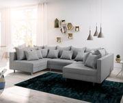 Couch Clovis Grau Flachgewebe Wohnlandschaft Modulsofa [12089]