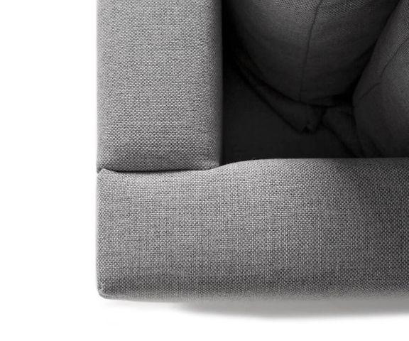 Woonlandschap Clovis grijs vlak geweven hocker armleuning module bank 3