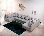 Couch Clovis XL Grau Flachgewebe Wohnlandschaft modular [12092]