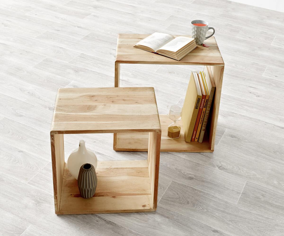 DELIFE Cube Eolo 50x30 cm Akazie Gebleicht 2er Set Massivholz, Regalwürfel | Wohnzimmer > Regale > Regalwürfel | DELIFE