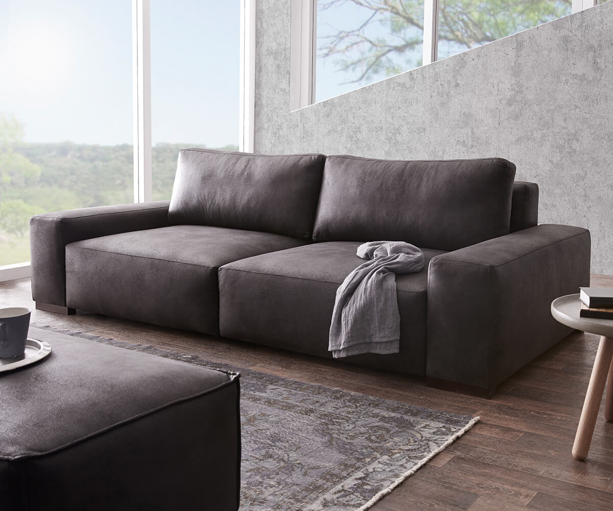 Bigsofa Lanzo Xl Anthrazit 270x125 Cm Vintage Optik Mit Kissen Big Sofa