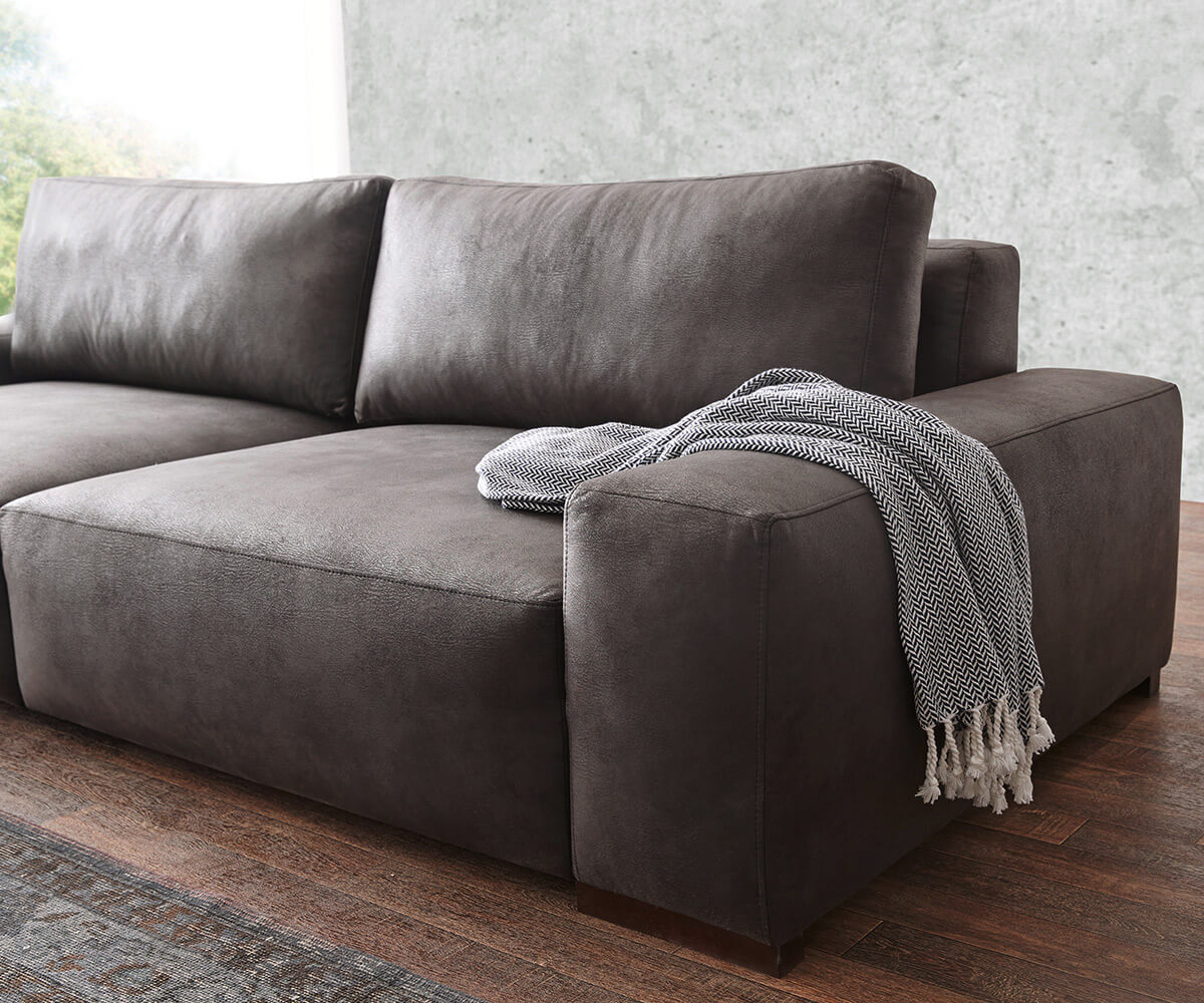 Bigsofa Lanzo Anthrazit X Cm Vintage Optik Mit Kissen Bigsofa With Anthrazit  Couch