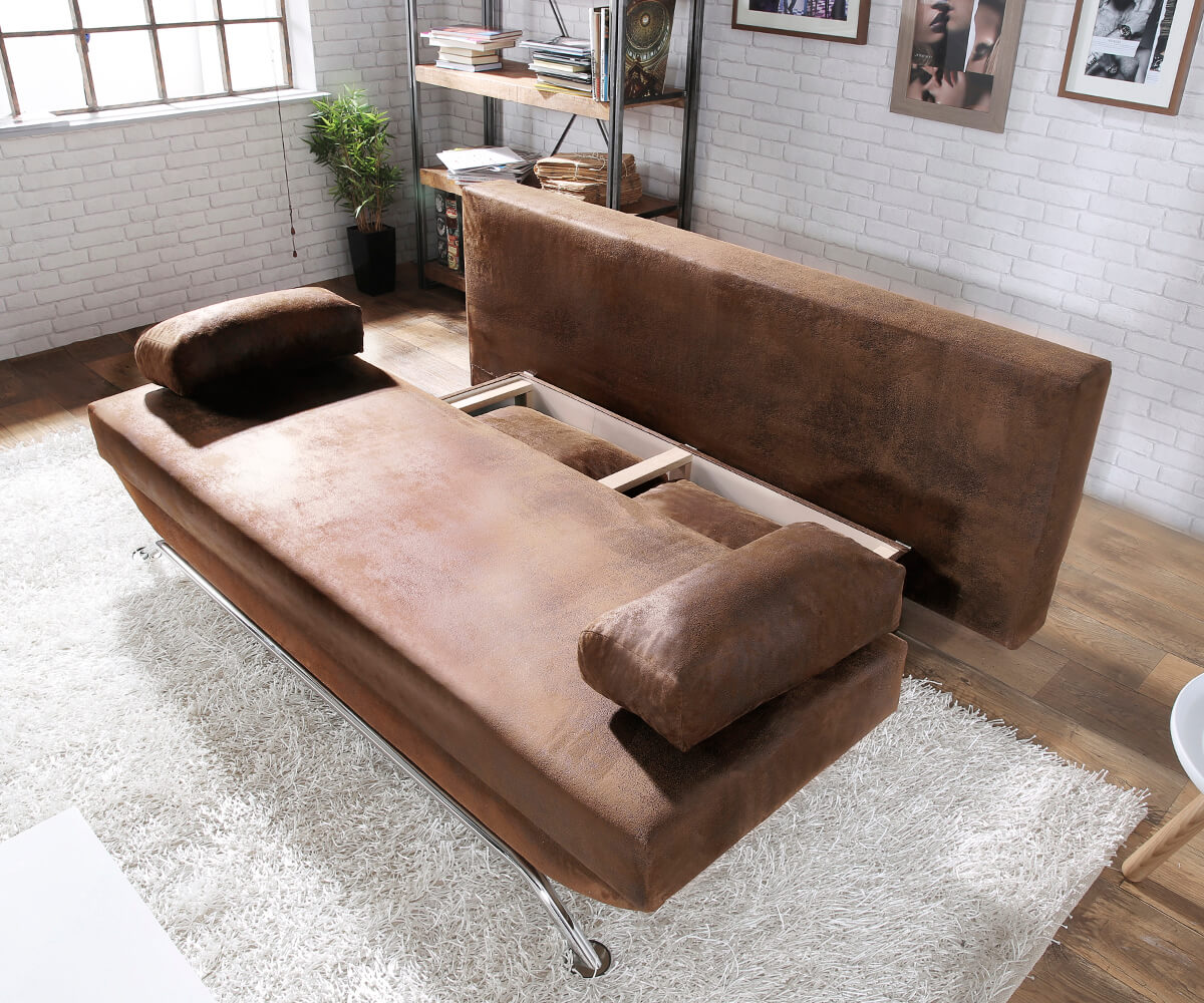 schlafcouch cady braun 200x90 schlaffunktion antik optik bettkasten schlafsofa. Black Bedroom Furniture Sets. Home Design Ideas
