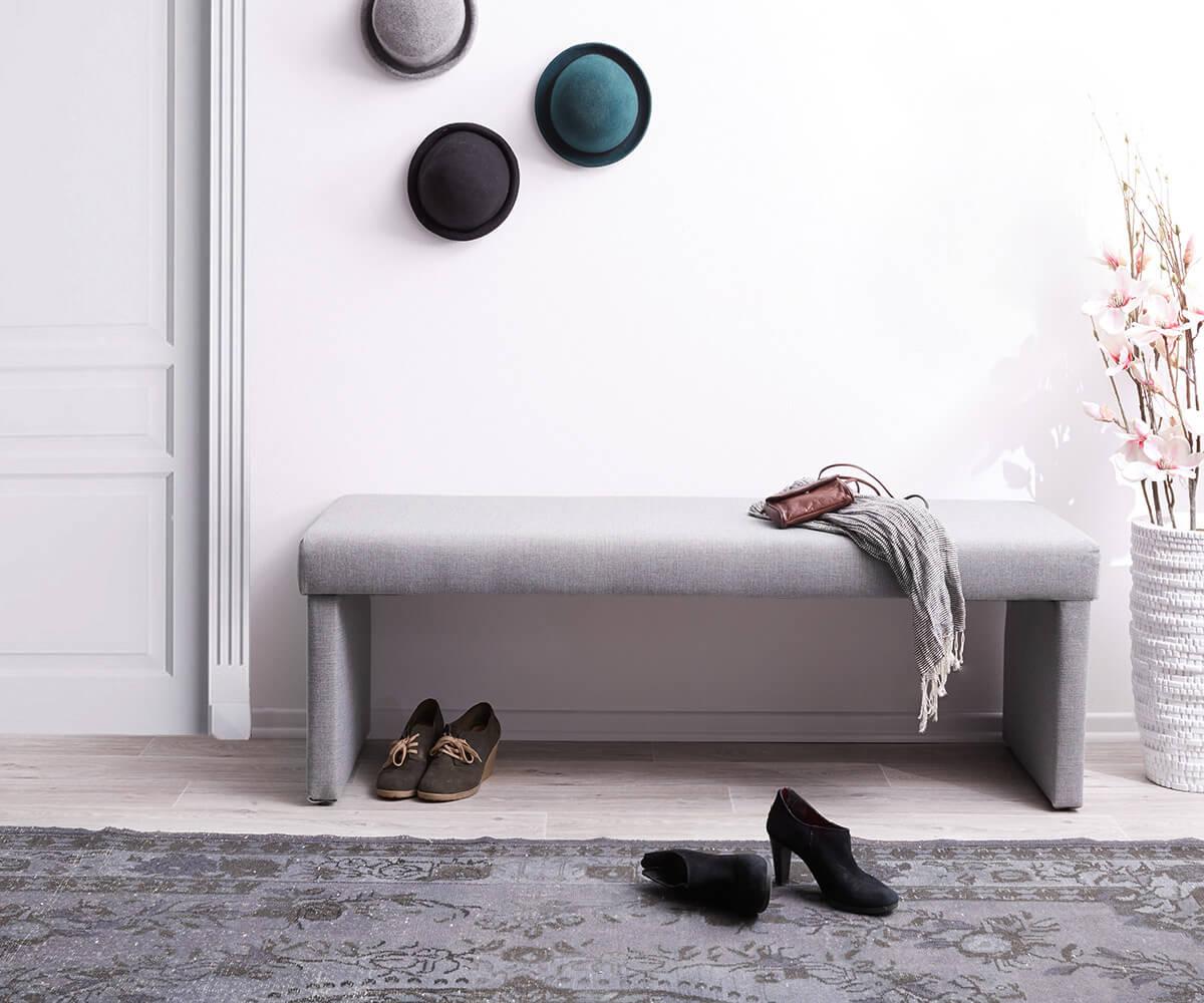 Zitbankje Olav 140x53 cm grijs gestoffeerd zitvlak
