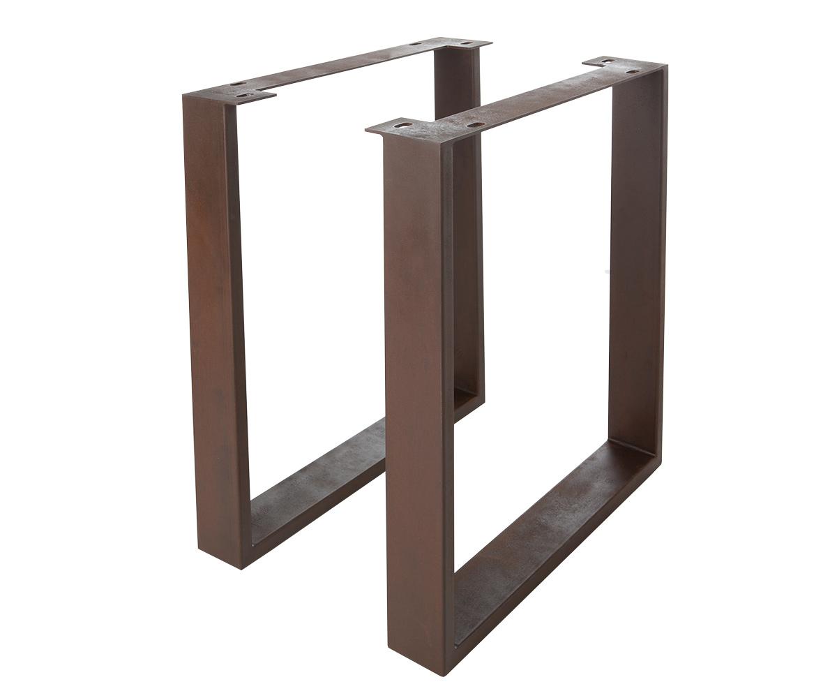 Tischbeine Live-Edge Baumtisch 9,5x2,5 cm Metall in Rost Optik schmal (2er Set)