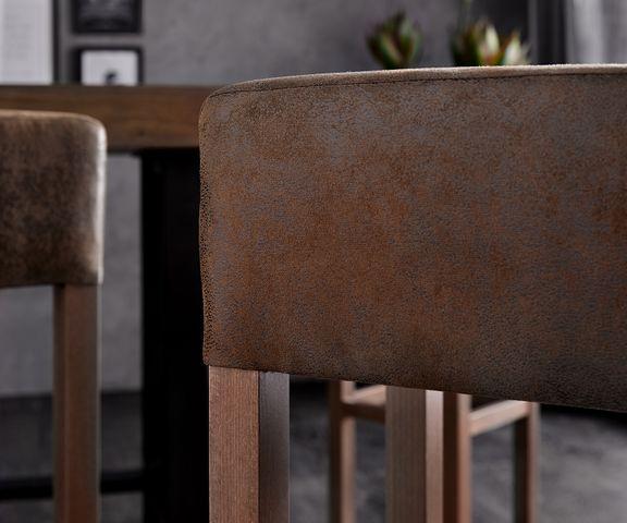 Barkruk Vitoria bruin vintage gestoffeerd met voetsteun 3