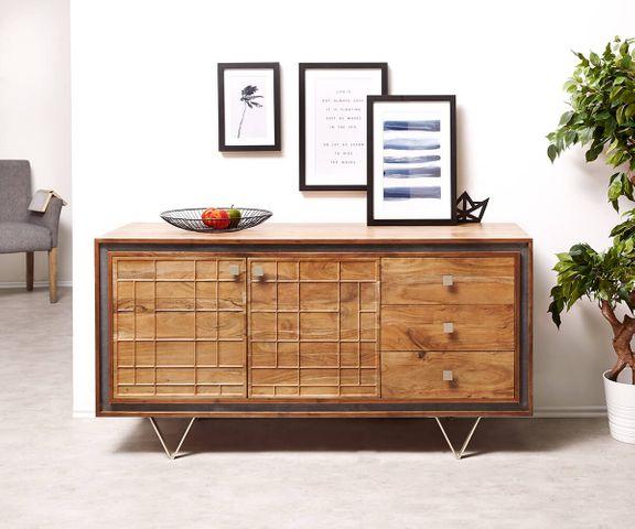 Designer-Sideboard Stonegrace 147 cm acacia natuur 3 laden 2