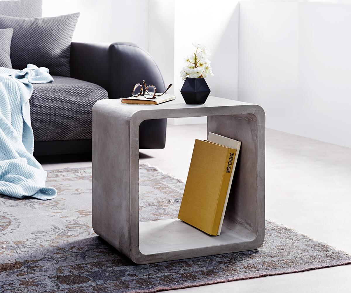 Cube Zaara 45x35 cm Grau Beton Beistelltisch Zement Würfel