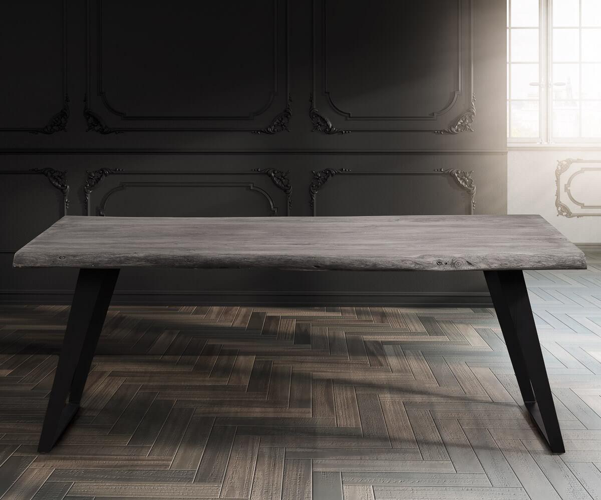 baumtisch live edge 180x90 akazie platin platte 5 5cm gestell schr g m bel tische esstische. Black Bedroom Furniture Sets. Home Design Ideas