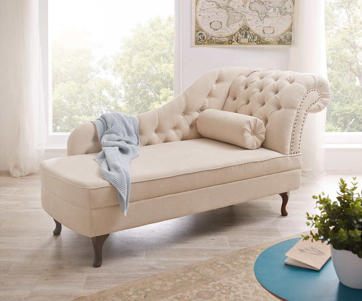 Recamiere Patsy 185x75 cm Beige abgesteppt Chesterfield