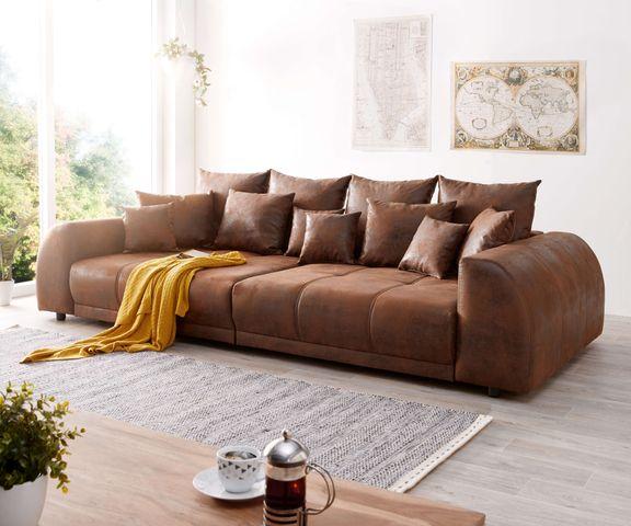 Big Sofa Violetta 310x135 Cm Braun Antik Optik Mit Kissen Bild 1