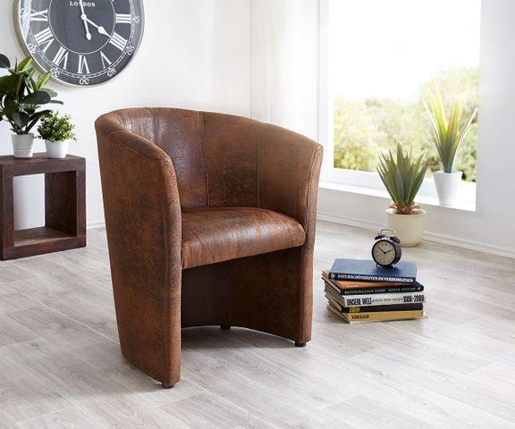 Cocktailstoel Pieder bruin Lounge gestoffeerde antieke look 1