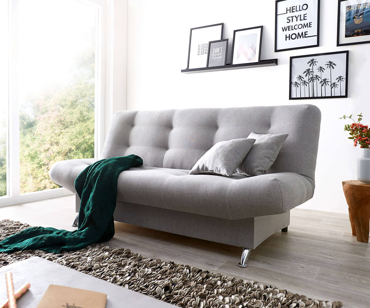 Schlafsofa Viol 190x90 cm Grau Couch mit Bettkasten