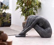 Dekofigur Sonnengöttin Schwarz Silber 90x40 handgefertigt Statue Skulptur Unikat [12265]