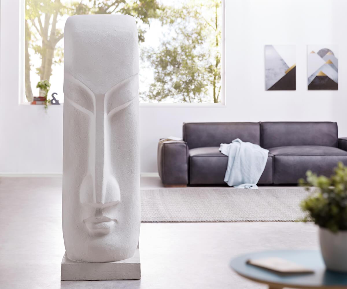 Skulptur Moai 167x50 cm Hellgrau Statue Unikat
