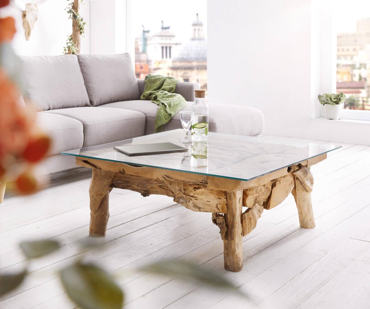 couchtisch ramiro 100x100 teakholz natur glasplatte unikat m bel tische couchtische. Black Bedroom Furniture Sets. Home Design Ideas