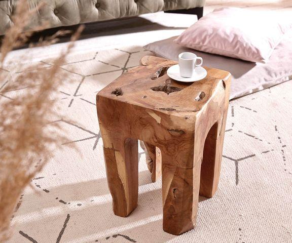 Bijzettafel Benn 30x30 cm teakhout natuur massief hout 1